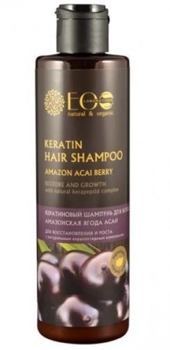 Szampon na miękkiej ekologicznej bazie myjącej, delikatnie oczyszcza włosy, nie niszcząc naturalnej ochrony skóry głowy i włosów. Ekstrakt jagód acai tonizuje skórę głowy, odżywia cebulki włosowe, przywraca włosom blask. Kompleks BIO-KERATIN wzmacnia włosy na całej długości, wypełnia ubytki, regeneruje strukturę włosów, usuwa rozdwajanie się i łamliwość, przywraca włosom blask i jedwabistość. Arginina aktywizuje wzrost włosów. Idealny do zastosowania w czasie keratynowej kuracji zniszczonych włosów. Jagody acai - zawierają wszystkie znane witaminy i minerały. Takiej ilości pożytecznych substancji, jak w acai nie ma w żadnym innym naturalnym produkcie. Jagody acai nasycają skórę głowy witaminami, odnawiają strukturę osłabionych i kruchych włosów  Sposób użycia: Niewielką ilość szamponu nanosimy na wilgotne włosy, masując spieniamy, zmywamy wodą. Do stosowania zewnętrznego  Składniki INCI: Aqua, Glycerin, Euterpe Oleracea (Acai) Fruit Extract (ekstrakt acai), Hydrolyzed Wheat Protein (proteiny pszenicy), Hydrolyzed Rye Protein (proteiny żyta), Hydrolyzed Oats Protein (proteiny owsa), Sodium Cocoyl Isethionate, Cocamidopropyl betaine, Sodium Cocoamphoacetate, Betaine, Sodium Chloride, Adansonia Digitata (Baobab) Seed Oil (olej z baobabu), Tagetes Minuta (Marigold) Flower Oil (olej z czarnej mięty), Aloe Barbadensis (Aloe) Leaf Extract (ekstrakt aloesu), Cola Acuminata (Cola Nut) Seed Extract (ekstrakt z orzeszków coli), Cyclopia Intermedia (Honeybush) Leaf Extract (ekstrakt z miodokrzewu), Aspalathus Linearis (Rooibos) Leaf Extract (ekstrakt z liści rooibos), Perfume, Xanthan Gum, Arginine, Benzyl Alcohol, Caprylyl Glycol, Citric acid, Sodium Benzoate, Potassium Sorbate