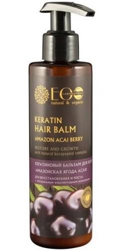 Balsam na miękkiej ekologicznej bazie. Ekstrakt jagód acai w połączeniu z wyjątkowymi ziołami, aktywnie odżywia, wzmacnia blask włosów, kondycjonuje włosy, ułatwia ich układanie. Kompleks BIO-KERATIN wzmacnia włosy na całej długości, wypełnia ubytki, regeneruje strukturę włosów, usuwa rozdwajanie się i łamliwość, przywraca włosom blask i jedwabistość. Idealny do zastosowania w czasie keratynowej kuracji zniszczonych włosów. Jagody acai - zawierają wszystkie znane witaminy i minerały. Takiej ilości pożytecznych substancji, jak w acai nie ma w żadnym innym naturalnym produkcie. Jagody acai nasycają skórę głowy witaminami, odnawiają strukturę osłabionych i kruchych włosów