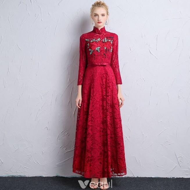 Chiński Styl Burgund Koronkowe Sukienki Wieczorowe 2018