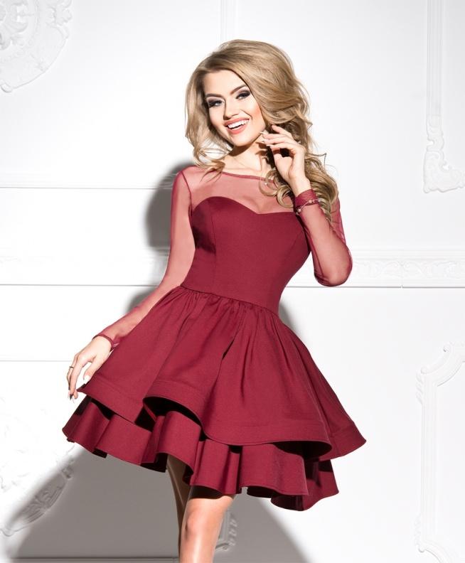 289a37186f ASHLEY - rozkloszowana sukienka z dwóch falban bordowa Kliknij.. na ...
