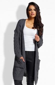 Envy EM608 sweter grafitowy Piękny dłuższy kardigan, wykonany ciepłej dzianiny, przód ozdobiony warkoczami