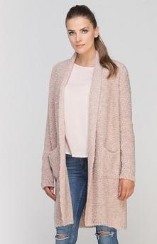 Lanti SWE111 sweter różowy Rewelacyjny kardigan damski, wykonany z ciepłej dzianiny, fason niezapinany