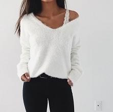 Zimowa stylizacja z białym swetrem - LINK W KOM!
