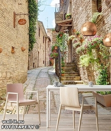 Przestrzenna kolorowa fototapeta uliczka z kwiatami, do kuchni, jadalni, pizzerii, kawiarni czy restauracji. Wzór nr Su62 ©
