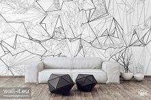 Nowoczesna czarno biała fototapeta geometryczna. Dedykowana do nowoczesnych w...