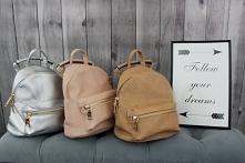 W tym sezonie zamiast torebki- plecak! :) 3 kolory: camel, pudrowy róż, metal...