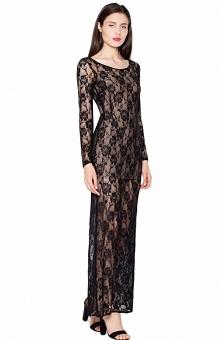 Venaton VT091 sukienka czarna Przepiękna długa koronkowa sukienka, zjawiskowo podkreśla sylwetkę, sukienka na cielistej podszewce