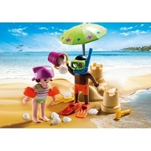 Tak ... to my:)   .... w naszej wyobraźni:)  Zabawka Playmobil 9085 - Figurki dzieci, chłopczyk i dziewczynki, z zamkiem z piasku.  Zestaw zawiera muszlę, płetwy do nurkowania, ...