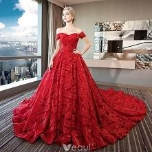 Luksusowe Czerwone Koronkowe Suknie Ślubne 2018 Suknia Balowa Przy Ramieniu Kótkie Rękawy Bez Pleców Rhinestone Frezowanie Cekiny Wzburzyć Trenem Królewski