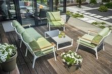 Nowoczesne meble ogrodowe: aluminium +seledyn na poduszkach!