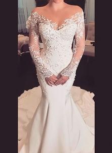Przedmiot: H0945 Sexy sheer top illusion długie rękawy koronkowa suknia ślubna syrena