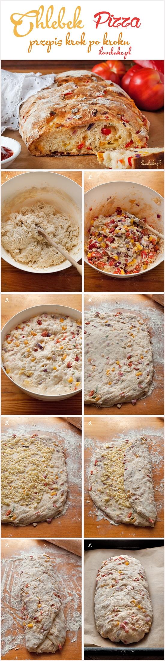 CHLEBEK PIZZA  SKŁADNIKI NA CIASTO:  3 1/3 szklanki mąki pszennej 2 łyżeczki drożdży suchych 1 1/2 szklanki ciepłej wody 2 łyżeczki soli 1 1/2 łyżki cukru DODATKOWO:  2 1/2 szklanki pokrojonych warzyw (papryki, czerwonej cebuli, oliwek, suszonych pomidorów, czosnek) 2-3 plastry sera żółtego, pokrojonego na kawałki 250 g sera mozzarella, pokrojonego w kosteczkę Drożdże zalewamy ciepłą wodą i zostawiamy na około 3 min. Po tym czasie dodajemy przesianą mąkę, sól oraz cukier. Mieszamy dużą łyżką najlepiej drewnianą tylko do połączenia. Dodajemy pokrojone warzywa oraz ser żółty. Ponownie mieszamy (można lekko podsypać ciasto mąką, ale nie za dużo), owijamy folią i zostawiamy na 1 godz. Po tym czasie miskę z ciastem wkładamy na godzinę do lodówki. Stolnicę dobrze oprószamy mąką, wykładamy ciasto i wałkujemy je na grubość ok. 1-1,5 cm. Wykładamy równomiernie pokrojoną mozzarellę. Jeden bok zawijamy na drugi, łączeniem przekładamy ciasto na spód, a końce ciasta podwijamy pod spód. Przekładamy na blachę wyłożoną papierem do pieczenia. Zostawiamy na 10 min do napuszenia. Pieczemy w temp. 230 C przez ok. 30-35 min do zarumienienia skórki. Jeśli skórka za mocno się przypieka można przykryć folią aluminiową i zdjąć ją na ok. 3 min przed końcem pieczenia.