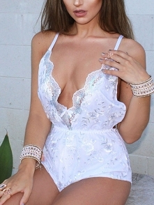 Sexy Sequins Mesh Hem Deep V Slip Romper Rozmiar: S, M, L Kolor: white