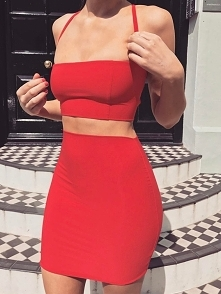 Skinny Criss Cross  Backless Skirt Sets Rozmiar: S, M, L Kolor: red