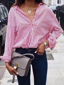 Stripe Print Turn-Down Collar Loose Shirt Blouse Rozmiar: S, M, L, XL, 2XL, 3XL, 4XL, 5XL Kolor: pink