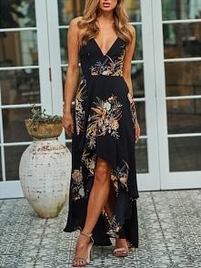 Irregular Floral Printed Backless Slip Maxi Dress Rozmiar: S, M, L Kolor: black