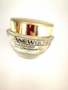 Avon Anew Ulitimate emulsja na noc z bioaktywnym złotem  1.Przede wszystkim ma chronić włókna kolagenowe, by zredukować głębokie zmarszczki. A także przywrócić jędrność, nawilży...