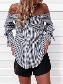 Sexy Off Shoulder Button Front Plaid Blouse Rozmiar: S, M, L Kolor: black
