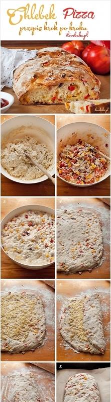 CHLEBEK PIZZA SKŁADNIKI NA CIASTO: 3 1/3 szklanki mąki pszennej 2 łyżeczki drożdży suchych 1 1/2 szklanki ciepłej wody 2 łyżeczki soli 1 1/2 łyżki cukru DODATKOWO: 2 1/2 szklank...
