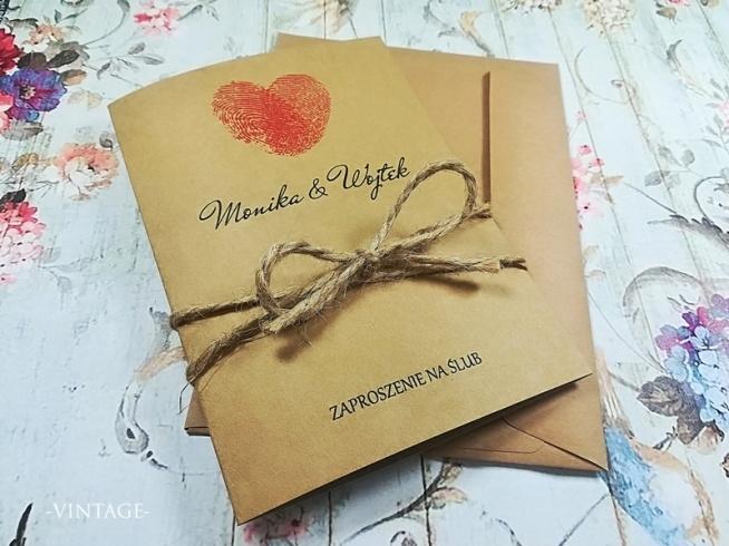 Zaproszenia ślubne Vintage Z Odciskami Palców Na Zaproszenia ślubne