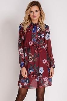AVARO Piękna szyfonowa sukienka w kwiaty SU-1248
