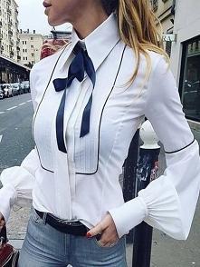 Fashion Tie Neck Lantern Sleeve Blouse  Rozmiar: S, M, L, XL Kolor: white