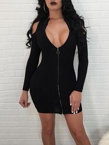 Cold Shoulder Zipper Up Ribbed Mini Dress Rozmiar: S, M, L, XL Kolor: black