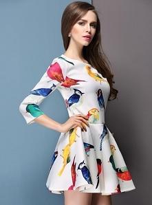 Zwiewna, wygodna biała sukienka w kolorowe ptaszki ♥ Idealna do szkoły, na ra...