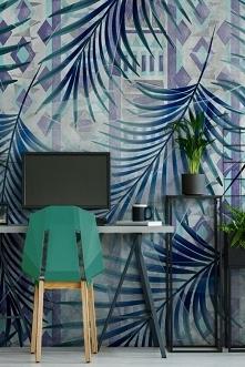 domowe biuro w tropikalnej odsłonie (fototapeta: Myloview)