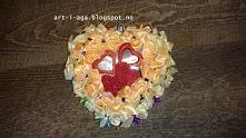 Wiszące serce 16cm, kanzashi