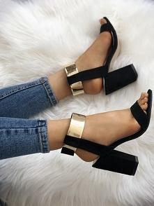 Stylish Metallic Open Toe Chunky Heeled Sandals Rozmiar: US4.5, US5.5, US6, U...
