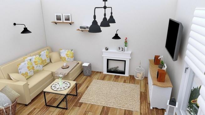 Projekt salonu w nowoczesnym stylu rustykalnym. Zapraszamy na blog.