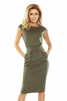 Sukienka SARA militarna w kolorze khaki - zielony - midi sukienka na każdą ok...
