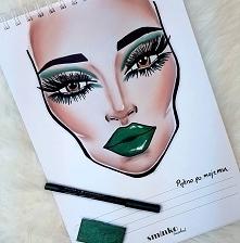 Inspiracja @facecharts  #facechart #inspiracja #greeneyes #green #zielony #kolor #sminko #zmaloinspiruje #facecharts #prestige #makeuprevolution #malowanki #zabawa #makeup #maki...