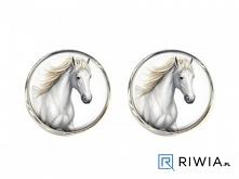 spinki do mankietów z białym koniem