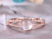 6mm Round Cut Moonstone Engagement Ring,14k Rose Gold,Anniversary