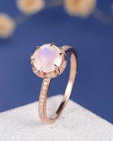 Moonstone Engagement Ring Unique Flower Diamond Floral