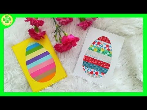 Kartka wielkanocna - jajko z pasków papieru / Easter card - paper strip egg
