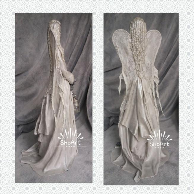 Anioł zimna porcelana oraz utwardzona tkanina-projekt autorski MadamAngel  tył figurki