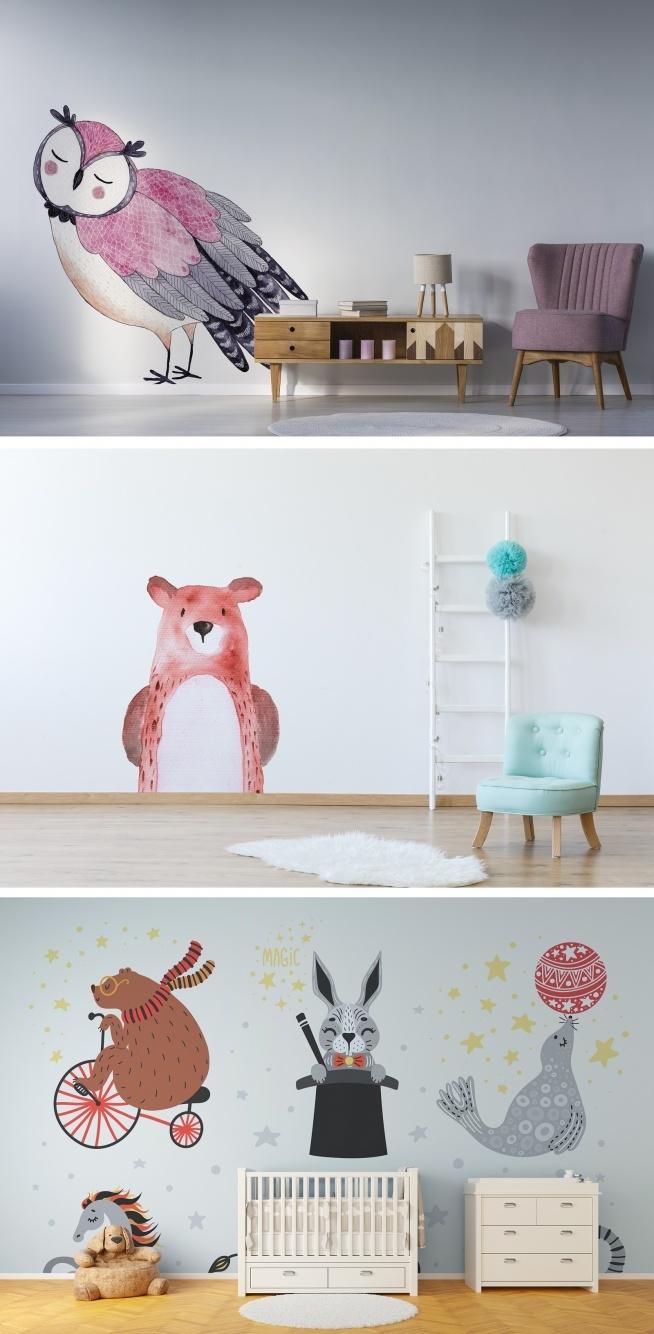 Naklejki ze zwierzętami - dekoracja pokoju dziecięcego (więcej propozycji znajdziecie na  stronie Myloview w kategorii - naklejki/zwierzęta)
