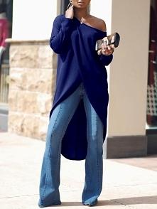 Stylish Irregular Solid Color Women's Blouse Rozmiar: S, M, L, XL Kolor: dark blue