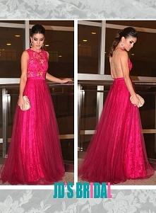 LJ14136 gorąca różowa gładka tył koronki z tiulową spódnicą długa suknia
