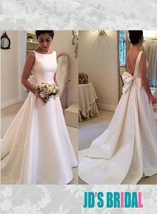 JOL239 prosta prosta szyfonowa suknia ślubna w kolorze satyny z niskim dekoltem