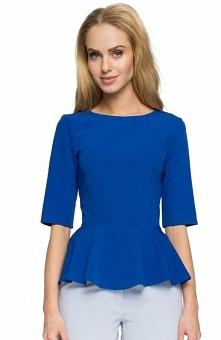 Style S002 bluzka niebieska Elegancka bluzka typu baskinka, dopasowany fason podkreśla kobiece kształty, krótki rękaw