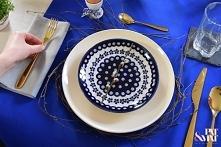 Easter table decor origami bunny ceramika bolesławiecka wielkanoc wielkanocny stół  Więcej zdjęć na moim blogu. Link w bio