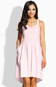 Lemoniade L210 sukienka pudrowy róż Śliczna sukienka o rozlkoszowanym fasonie, góra sukienki dopasowana, na szerokich ramiączkach
