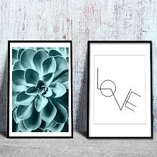 Piękny plakat z motywem kwiatka w turkusie i napisem love. Dekoracja cudownie...