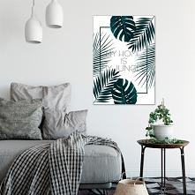 """Plakat z tropikalnymi liśćmi : """"My home is my jungle"""" Modna dekorac..."""