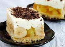 bananowa kostka ciasto kruche: 3 żółtka 100 g masła 1 szkl mąki pszennej 2 łyżeczki cukru wanilinowego pół łyżeczki proszku do pieczenia 30 g cukru pudru bita śmietana: 500 ml ś...