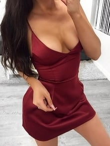 Sexy Scoop Collar Sheath Slip Party Dress Rozmiar: S, M, L, XL Kolor: Wine red